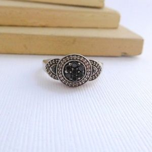 Jewelry - Sterling Silver Black White Diamond Cluster Ring